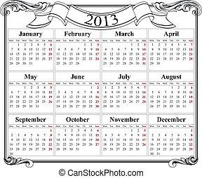 calendrier, grille, retro, 2013