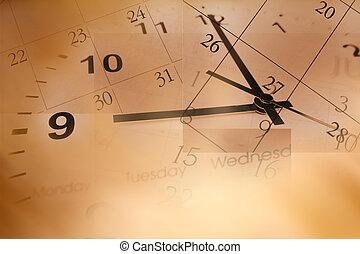 calendrier, horloge