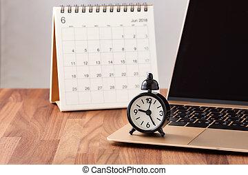 calendrier, informatique, horloge