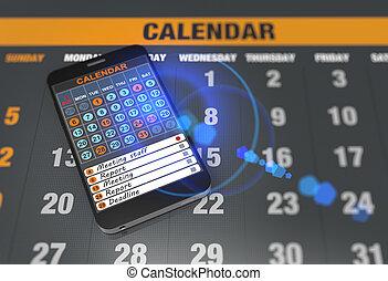 calendrier, informatique, tablette