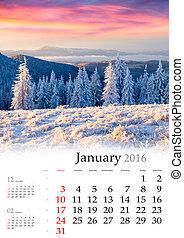 calendrier, january., 2016.