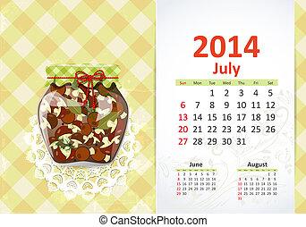 calendrier, juillet, 2014