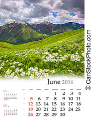 calendrier, june., 2016.