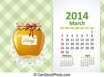 calendrier, mars, 2014