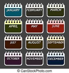 calendrier, mois, collection, icônes