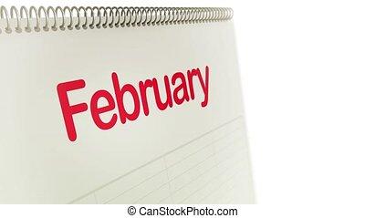 calendrier, mois, renverser, boucle
