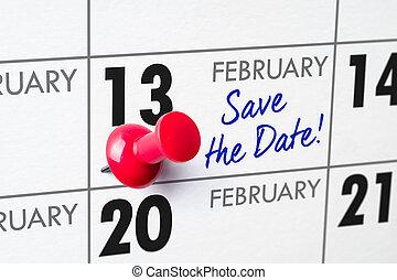 calendrier mural, à, a, rouges, épingle, -, février, 13