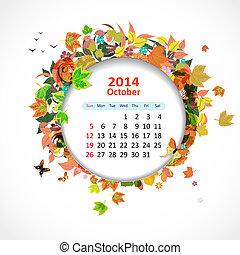 calendrier, octobre, 2014