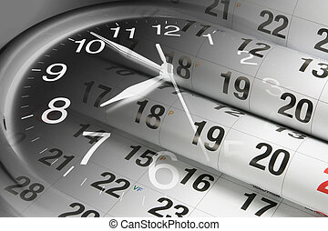 calendrier, pages, horloge