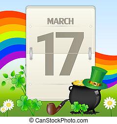 calendrier, patrick's, saint, jour