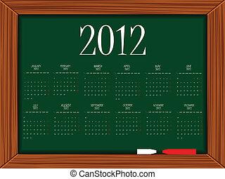 calendrier, planche, 2012