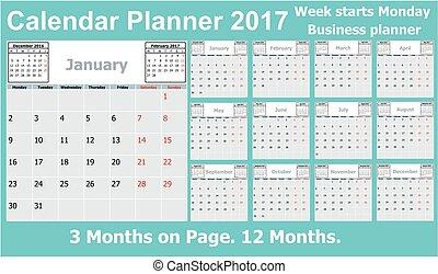calendrier, planificateur, 2017