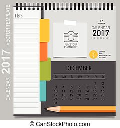 calendrier, planificateur, december., mensuel, vecteur, gabarit, 2017, conception
