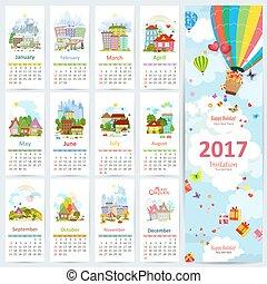 calendrier, pour, 2017, à, ensemble, de, coloré, towns., carte voeux, à