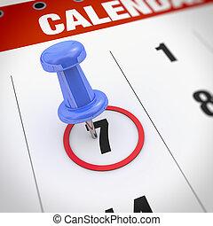 calendrier, pushpin
