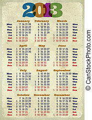 calendrier, retro, 2013