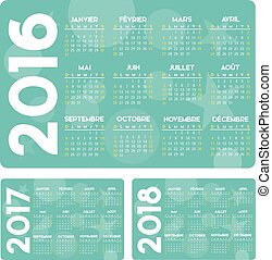 Calendrier turquoise FR - french turquoise calendar 2016 ...