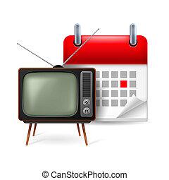 calendrier, tv-set, vieux