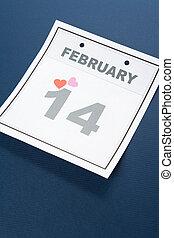 calendrier, valentine\\\'s, jour