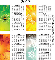 calendrier, vecteur, 2013