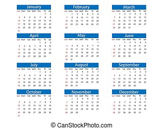 calendrier, vecteur, sunday., semaine, design., 2021, illustration, plat, débuts