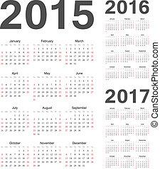 calendriers, vecteur, 2016, année, 2017, 2015, européen