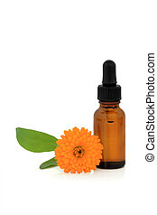 Calendula flower and aromatherapy essential oil glass dropper bottle, over white background.