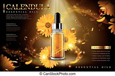 calendula essential oil ad, contained in droplet bottle,...