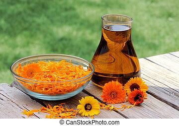 calendula, fleurs, huile
