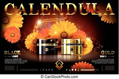 calendula gold and black mask ad, contained in cosmetic jars, 3d illustration