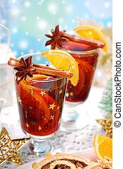 calentó con azúcar y especias vino, navidad, especias