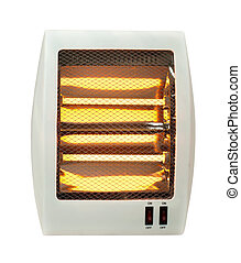 calentador, blanco, eléctrico, aislado