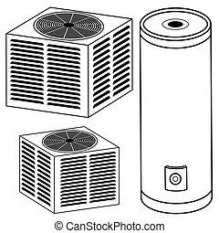 calentador de agua, acondicionador de aire