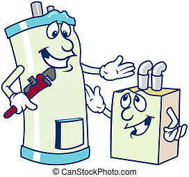 calentador de agua, caricaturas