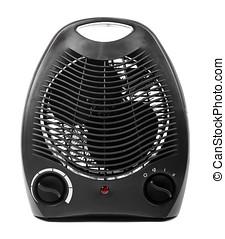 calentador, eléctrico, aislado, fondo negro, blanco