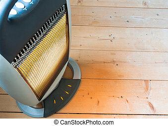 calentador, eléctrico, piso, de madera, halógeno, o