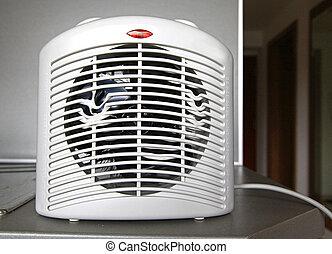 calentador, ventilador, recalentado, eléctrico