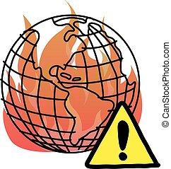 calentamiento del planeta, con, señal de peligro, vector, ilustración, garabato, bosquejo, mano, dibujado, con, negro, líneas, aislado, blanco, fondo.