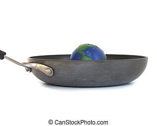 calentamiento del planeta, -, tierra, en, un, sartén
