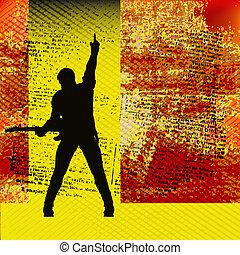 calesse, guida, basato, illustrazione, chitarra, vettore, musica, fondo, concerti