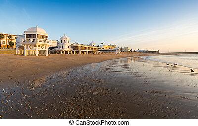 caleta, levers de soleil, plage, cadiz, time.