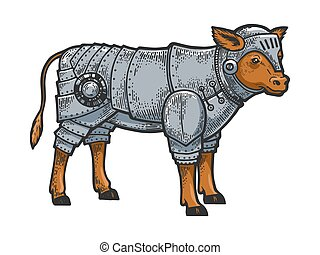 Calf bull in knight armor sketch engraving vector illustration. T-shirt apparel print design. Scratch board style imitation. Black and white hand drawn image.