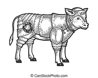 Calf bull in knight armor sketch engraving vector illustration. Tee shirt apparel print design. Scratch board style imitation. Black and white hand drawn image.