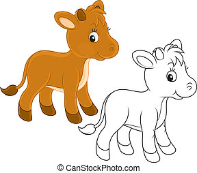 Calf - Funny little calf, color and black-and-white outline...