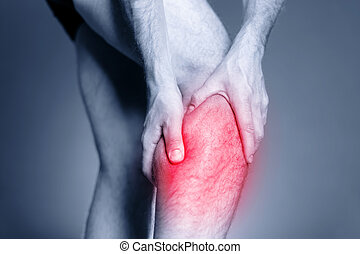 Calf leg pain, muscle injury - Calf leg pain, man holding...