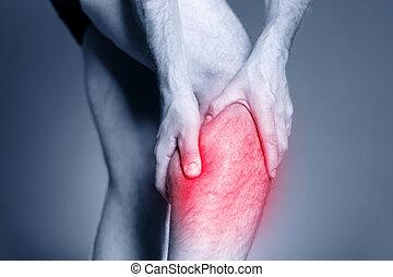 Calf leg pain, muscle injury - Calf leg pain, man holding...