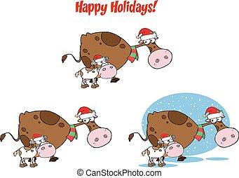 calf., navidad, colección, vaca