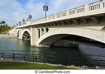 calgary, 通り, 橋, 中心