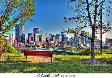 Calgary AB Skyline just before sunset. This is an HDR image