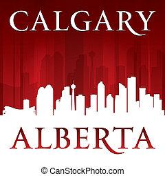 Calgary Alberta Canada city skyline silhouette red background